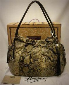 "Brighton H3332N XL ""Nolita"" Pleated Hobo Shoulder Bag Python Embossed Leather Sand-Pewter NWT"