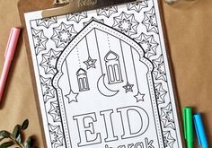 Get this coloring page plus MORE (every first and third Friday of the month) by subscribing to my newsletter below! Once your subscription is confirmed, you will get a link to access a library of f… Eid Crafts, Ramadan Crafts, Ramadan Decorations, Ramadan Activities, Eid Party, Eid Al Fitr, Kids Cards, Cards Diy, Happy Eid