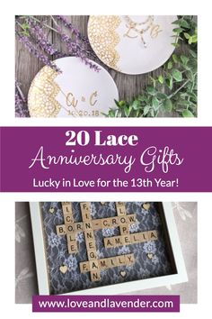 20 Lace Anniversary Gifts – Lucky in Love for the 13th Year | Celebrate this special occasion with thoughtful gifts | Gift ideas and inspiration by Love & Lavender #gifts #gift #anniversarygift 13 Year Wedding Anniversary, 13th Anniversary, Anniversary Gifts For Him, Presents For Your Boyfriend, Inspirational Gifts, Thoughtful Gifts, Wedding Stationery, Valentine Gifts, Special Occasion