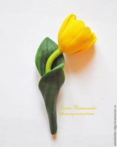 "Купить Брошь ""Желтый тюльпан"" - желтый, тюльпан, тюльпаны, тюльпан из пластики, тюльпан из глины"