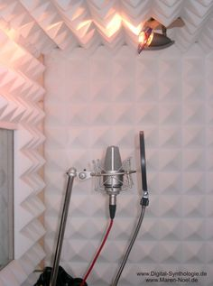 Really great sound absorption potential in this recording booth of the studio with three dimensional foam like surface walls. No ambient noise or hard surface music waves bouncing! Home Studio Setup, Music Studio Room, Audio Studio, Recording Studio Design, Sound Studio, Home Studio Musik, Recording Booth, Recording Studio Microphone, Home Music