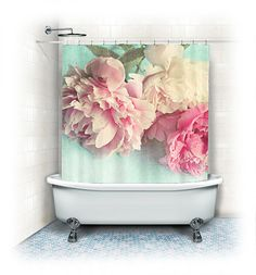 "Peony Shower Curtain ""Like Yesterday"",aqua, pink, bathroom,home decor,pastel flowers,Peony,nature,floral shower curtain,shabby chic on Etsy, $64.99"