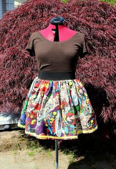 Who says super heroes cant have a few frills with those thrills?! This skirt is the perfect addition to any Marvel Maven or Comics Junkie! Gathered