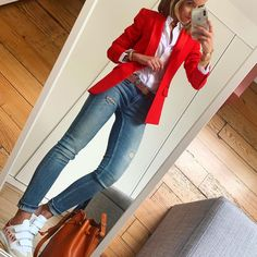 Modetrend Modetrend You are in the right place about Blazer Outfit professional Here we offer you the most beautiful pictures about the Blazer Outfit fiesta you are looking for. When you examine the M Blazer Outfits Casual, Business Casual Outfits, Classy Outfits, Chic Outfits, Fall Outfits, Fashion Outfits, Womens Fashion, Red Blazer Outfit, Outfit Look