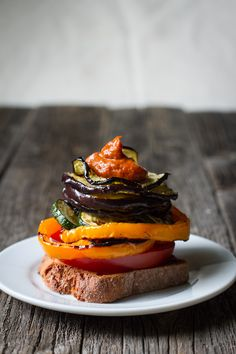 Rhubarb Barbecue Sauce + Grilled Veggie Sandwiches >> edible perspective