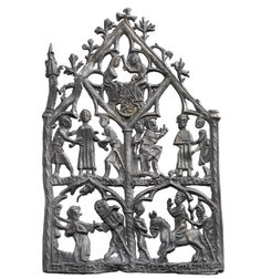 14th century lead-alloy devotional panel, approx. 130mm x 90mm © MOLA