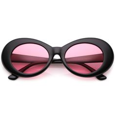 d1dcc12275 Retro Oval Sunglasses With Tapered Arms Color Tinted Round Lens (Black    Orange)