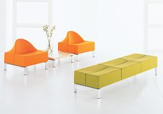 Tsunami - Allermuir  This furniture line comes in modular bench and chair pieces that can combine in different arrangements. They can be easily moved and shifted and come in a variety of colors.