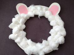 Sheep, mask, cotton wool, preschool, Easter, Christmas