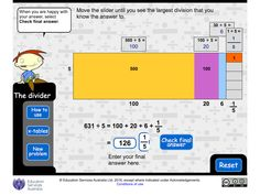 The divider Use a strategy to help you solve divisions such as 147 divided by 7 or 157 divided by 6 (some have remainders). Split a division into parts that are easy to work with, use times tables, then solve the original calculation. Abc Education, Remainders, Times Tables, When You Are Happy, Math Resources, Division, Divider, Teacher, Classroom
