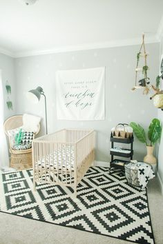 Just as important as the crib and other nursery staples, are the cute accessoriesthat really make it shine. This one has the best decor. From cactuses and adventure, to bold, geometricprints and a fun, modern way of decorating withblack and