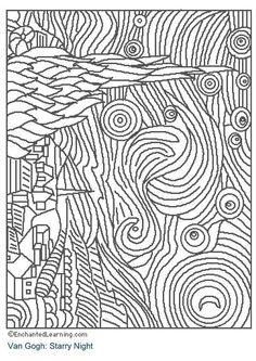 coloring page starry night dl3204jpg 618 874 pixels - Monet Coloring Pages Water Lilies