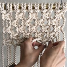 How to Tie Treasure Mesh // What first attracted me to Macrame was this. What was it and how do I do it? This video shows you how to tie it, Treasure Mesh; which is easy to do and it creates a high impact for wall hangings and other items. For the sake of time, I had already tied the first 3 rows of knots, and I'll explain how to do that below. // This video shows them done with  10 1/4th inch 8 foot cords which were attached to the bar using the Larks Head Knot. Since the cords were folded…