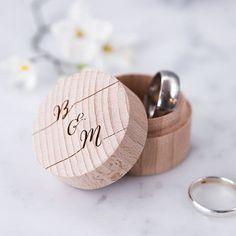 Personalised Calligraphy Ring Box - Wooden Ring Box - Wedding Ring Holder - Ring Pillow - Ring Bearer Box - Proposal Ring Box - Wedding Gift