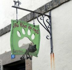"""sign for hotel rooms - """"Au Chat qui Ronfl"""" (the cat that snores)"""
