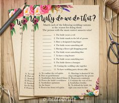 Why Do We Do That Bridal Shower Game Guess Wedding by ohellobride