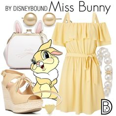 Miss Bunny by leslieakay on Polyvore featuring Miss Selfridge, Fergalicious, WithChic, Blue Nile, Jennifer Meyer Jewelry, disney, disneybound and disneycharacter