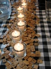 Scrabble pieces for a fun centerpiece