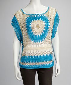 Blue  Gold Crocheted Top on zulily