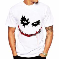 Buy salute Heath Ledger Most classic Joker t shirt men white Casual Breathable tee shirt homme dark Violence Aesthetics tshirts V Neck Tank Top, Tank Top Shirt, Tee Shirts, Tees, Tee Shirt Homme, Shirt Men, Joker T Shirt, White Casual, Black White