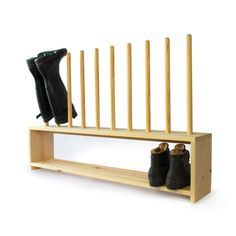 Welly Boot and Shoe Rack - welly rack above, shoe shelf below. Wooden footwear storage rack holds 4 pairs of welly boots and shoes. Handmade in solid Pine Shoe Storage Plans, Boot Storage, Storage Racks, Wooden Shoe Racks, Diy Shoe Rack, Garage Shoe Rack, Car Garage, Boot Rack, Shoe Rack For Boots