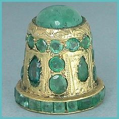 Jeweled Gilded Sterling Thimble w/ Real Emeralds * India * Mid 20th Century.