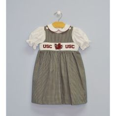 Smocked South Carolina Jumper and Blouse - $70.00, for baby girl Brown