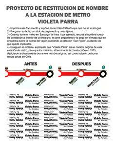 Cámbiale el nombre a San Pablo <3 Metro de Santiago <3 #metro #santiago #chile #violetaparra #parra