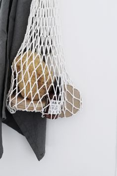Beautiful handmade eco mesh bag in white. Great for storage and shopping. style # Welcome to the world of economical, safe and ecological solutions! Interior Styling, Interior Decorating, Scandinavian Style Home, Net Bag, Neutral Colors, Bathroom Accessories, Interior And Exterior, Handmade, Inspiration