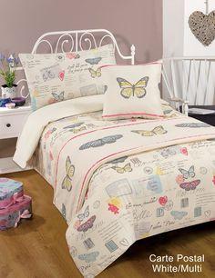 Designed by DEBORAH WILLMINGTON DESIGNS - Carte Postal Single Duvet Quilt Set Bed in a Bag Cushion Cover Runner: Amazon.co.uk: Kitchen & Home