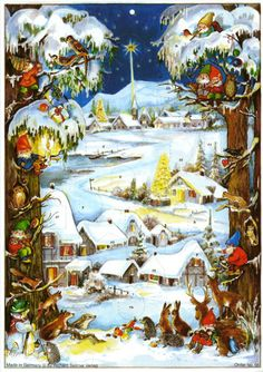 Deluxe Traditional Card Advent Calendar with Envelope - Christmas Elves A truly wonderful Advent calendar with beautiful illustrations. Features 24 doors to open It's Christmas eve and the elves are getting ready to de