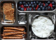 Granola bar, berries, pretzel sticks and non-fat greek yogurt.  I crumbled up the granola bar and added it to the yogurt with some berries.