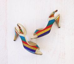 Vintage 1970s Rainbow Shoes Stripe Slingback by WhiteGloveVintage, $50.00