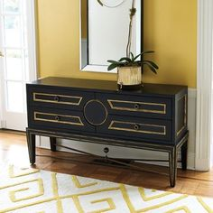Collectors Console- Black with gold trim - 4 drawers - great storage.....the rug!