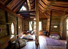 crystal treehouse in carbondale, colorado - constructed entirely from fallen logs and reclaimed materials, of course
