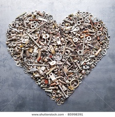 Assorted nuts and bolts heart