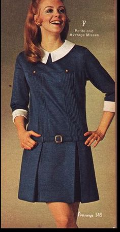 1960s fashion navy blue white shift dress baby doll drop waist school girl pleats photo print ad model magazine belt pleats brass buttons tab collar