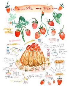 Title : The strawberry cake recipe in french : La charlotte aux fraises Archival giclee reproduction print. Signed with pencil. Printed on