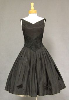 Gorgeous 1950's black taffeta cocktail dress