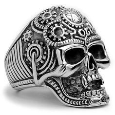 The Ultimate Stainless Steel Casted Skull Biker Ring Size 9 Metal Masters