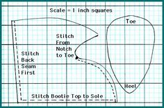 Cut Out Patterns for Moccasins | Notice that the seams are sewn on the outside of the booties. This ...