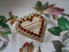 vtg / Rhinestone Heart Shaped brooch / Red and Clear by luvmetwice, $12.50