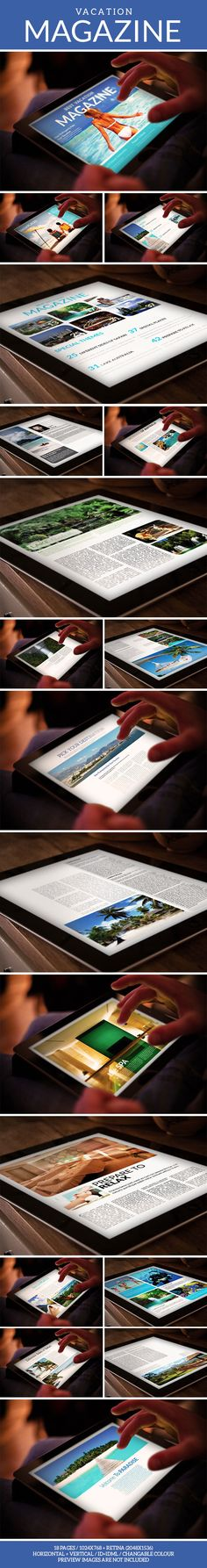 Tablet Vacation Magazine Template by Milos Djurovic, via Behance