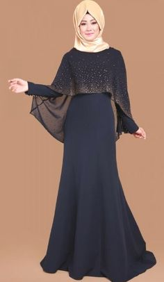 Latest Fashion Cape Style Abaya with Hijab Fashion – Girls Hijab Style & Hijab Fashion Ideas Islamic Fashion, Muslim Fashion, Modest Fashion, Fashion Dresses, Hijab Evening Dress, Hijab Dress Party, Evening Dresses, Long Prom Gowns, Trendy Dresses