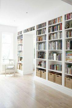 Creative Bookshelves, Bookshelf Design, Bookshelf Styling, Diy Bookcases, Bookshelves Built In, Floor To Ceiling Bookshelves, Bookshelf Ideas, Home Studio, Office Built Ins