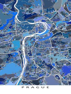 This Prague city map has a modern, abstract art design made from of lots of little blue shapes. Each shape is actually a city block or a piece of land - and these shapes combine like a puzzle or mosaic to form this Prague map.  You can see other things that make #Prague special: * modern roads and streets (like the Charles Bridge) * water bodies (like the Vltava River). #Czech #CzechRepublic #map