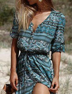 Chicnico Bohemian V Neck 3/4 Sleeve Floral Printed Button Long Maxi Dress