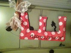 Burlap door hanger for hospital door and then her bedroom door!