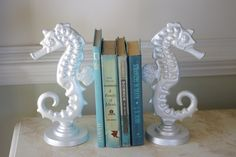 Cast Iron Sea Horse Bookend. Available in different colors.