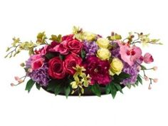 """13"""" Mounded Rose/Hydrangea/Peony/Orchid in Oval Dish #flowerssilk"""
